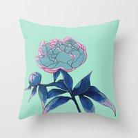 peony Throw Pillows featuring Peony by Ludovic Jacqz