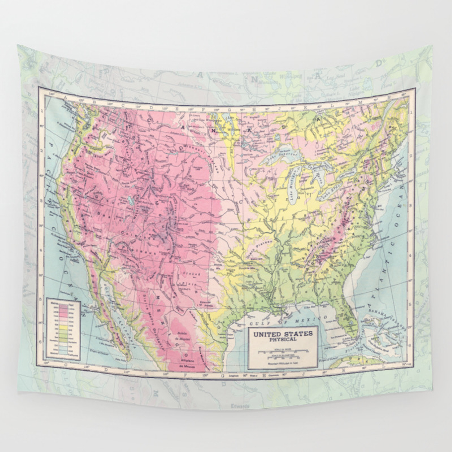 Picture of: Physical Map Of The United States Wall Tapestry By Catherineholcombe Society6