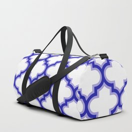 Moroccan Lattice, Oriental Pattern, seamless Morocco Design, blue, white Duffle Bag