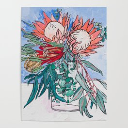 Painterly Vase of Proteas, Wattles, Banksias and Eucayptus on Blue Poster