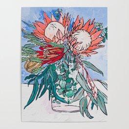 Painterly Vase of Proteas, Wattles, Banksias and Eucayptus on Blue Poster