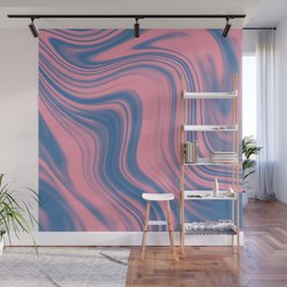 Liquid pink and blue Wall Mural