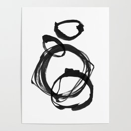 Black Ink Geometric Abstract Painting Rings 3 Poster