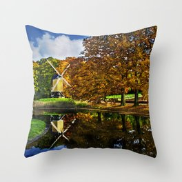 Autumn landscape with a windmill and pond in the Netherlands  Throw Pillow