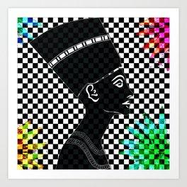 Queen Nefertiti Punk Rockstar Art Print