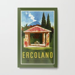 Ercolano Naples Italian summer travel ad Metal Print