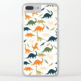 Dinos in Pastel Green and Orange Clear iPhone Case
