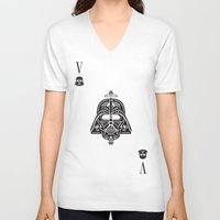 card V-neck T-shirts featuring Darth Vader Card by Sitchko Igor