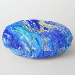 Gold & blue abstract d171013 Floor Pillow
