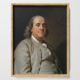 Benjamin Franklin Oil Painting Serving Tray