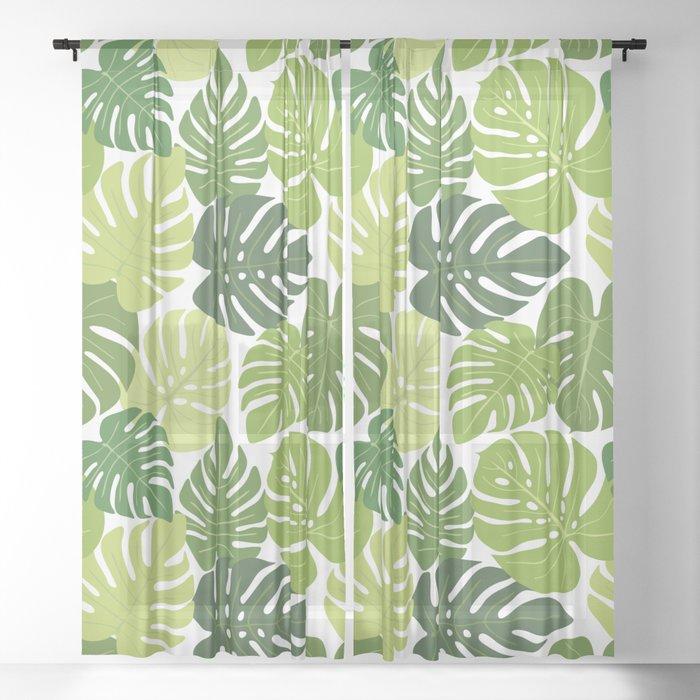 Monstera Leaves Pattern (white background) Sheer Curtain