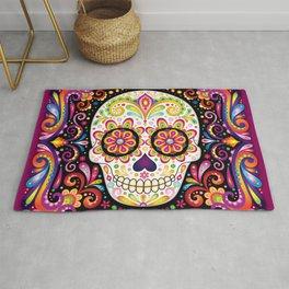 Psychedelic Sugar Skull - Colorful Art by Thaneeya McArdle Rug