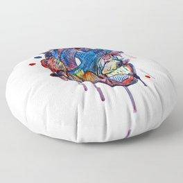 Corazon de colores en acuarela Floor Pillow
