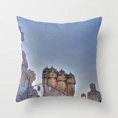 Casa Milà rooftop, Barcelona, Spain Throw Pillow