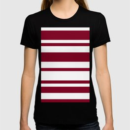 MIxed Horizontal Stripes - White and Burgundy Red T-shirt