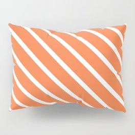 Peach Orange Diagonal Stripes Pillow Sham