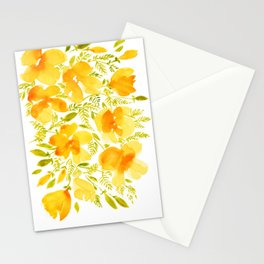 Watercolor California poppies (Quad set, #4) Stationery Cards