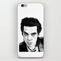 "nick cave iPhone & iPod Skins featuring ""Nick Cave"" by Jocke Hegsund"