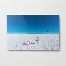 Llamas looking into the distance on the Salt Flats, Bolivia Metal Print