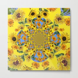 YELLOW SUNFLOWERS STORY BOOK Metal Print