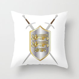 Crossed Swords and Shield Throw Pillow