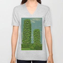 Italy Bosco Verticale Artistic Illustration Green Leaf Style Unisex V-Neck