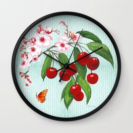 Cherries on Vintage  Wall Clock