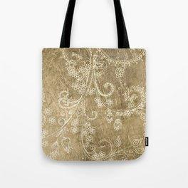 Elegant faux gold hand drawn floral pattern Tote Bag
