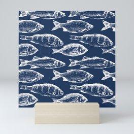 Fish // Navy Blue Mini Art Print