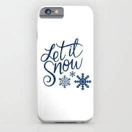 Let It Snow Blue Glitter (Color) iPhone Case
