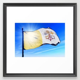 Vatican City flag waving on the wind Framed Art Print