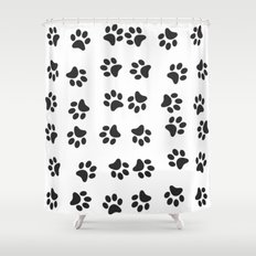 Paw Prints Pattern Dog & Puppy (Black & White) Shower Curtain