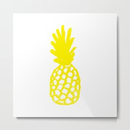 Yellow Pineapple Metal Print