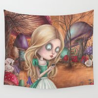 returns Wall Tapestries featuring Alice returns by Caroletta