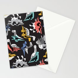 Geometric Dinos // non directional design black background multicoloured dinosaurs shadows Stationery Cards