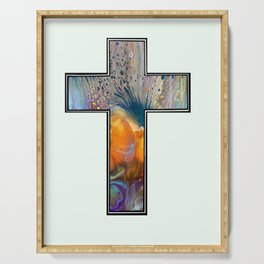 Fluid Art Cross Serving Tray