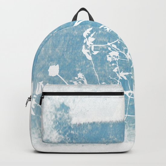 Shadow of wild flowers on a blue watercolor wall Backpack