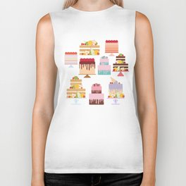 Birthday, valentine's day, wedding, engagement. Set sweet cake, fruits, berries Biker Tank
