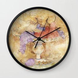 Watercolor Fruit on Clay Fresco Wall Clock