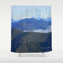 Past the drifting fog is Mount Lassen... Shower Curtain
