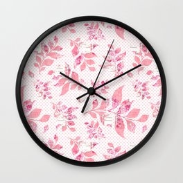 Blush pink white watercolor floral polka dots typography Wall Clock