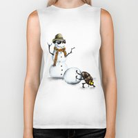 snowman Biker Tanks featuring Snowman by Anna Shell