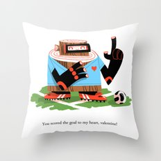 Wooden Robot Valentine Throw Pillow