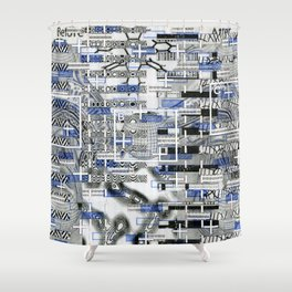 The Cost-Benefit Analysis of Balls (P/D3 Glitch Collage Studies) Shower Curtain