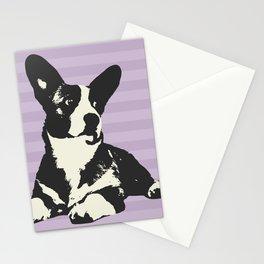 PURPLE STRIPE CORGI Stationery Cards