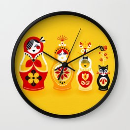 Russian Nesting Dolls – Yellow & Red Wall Clock