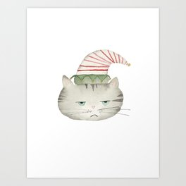 Grumpy grey tabby cat wearing red and white elf hat, watercolor Art Print