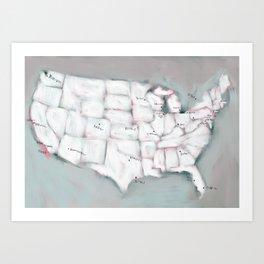 Baseball map Art Print