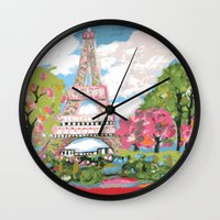 karen hallion Wall Clocks featuring Eiffel Tower by Karen Fields by Karen Fields Design