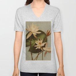 Vintage Water Lily Unisex V-Neck